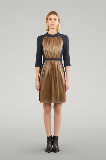 JERSEY FITTED DRESS WITH PLEATS