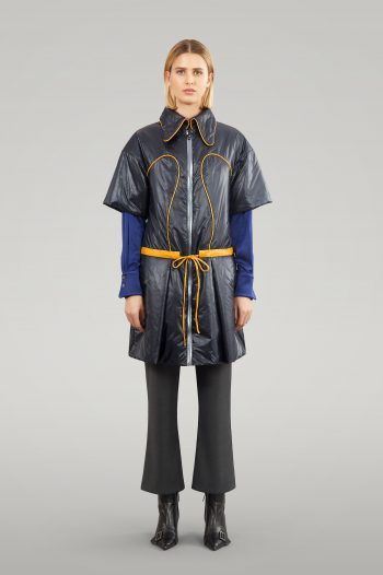 WATERPROOF PUFFER JACKET WITH LEATHER PIPING