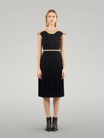 PLEATS DRESS WITH LEATHER ELEMENT