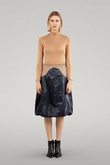NYLON SKIRT WITH LEATHER ELEMENT