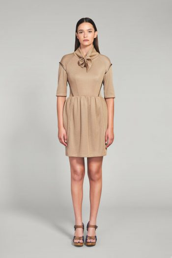 BEIGE AND GOLD OPEN WEAVE DRESS