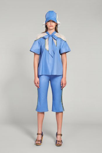 AZURE BLUE COTTON POPLIN PANTS