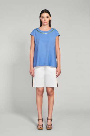 AZURE BLUE COTTON POPLIN TOP