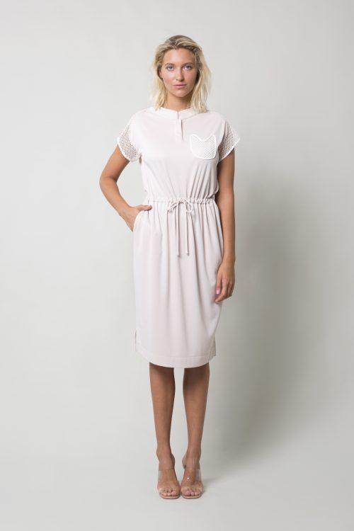 Powder pink cotton cupro dress