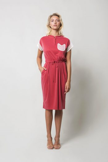 Red Cotton Cupro Dress