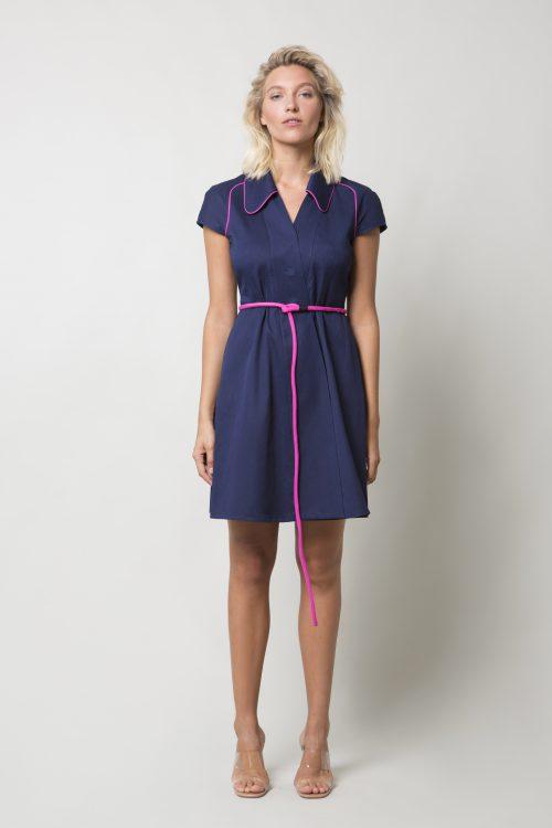 Dark blue denim cotton dress