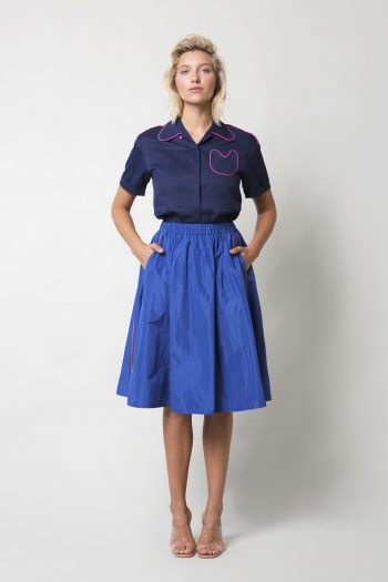 Blue Klush Taffeta Skirt