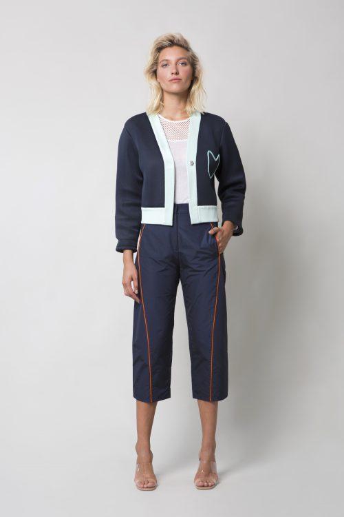 Dark blue taffeta pants
